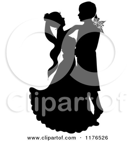 Clipart of a Black Silhouetted Wedding Couple Dancing - Royalty Free Vector Illustration by Pams Clipart
