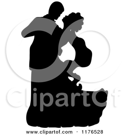 Clipart of a Black Silhouetted Wedding Couple Dancing 2 - Royalty Free Vector Illustration by Pams Clipart