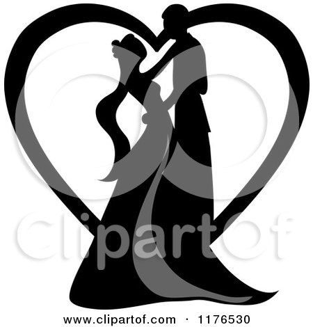 Clipart of a Black Silhouetted Wedding Couple Dancing in Front of a Heart - Royalty Free Vector Illustration by Pams Clipart