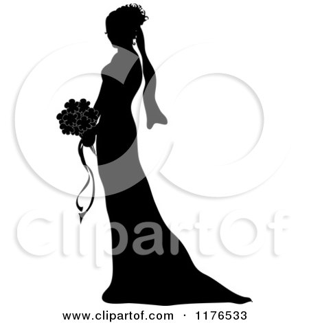 Clipart of a Silhouetted Bride in Profile, Holding a Wedding Bouquet - Royalty Free Vector Illustration by Pams Clipart