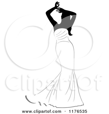 Clipart of a Black and White Bride in a Mermaid Gown, Holding Her Arms Above Her Head - Royalty Free Vector Illustration by Pams Clipart