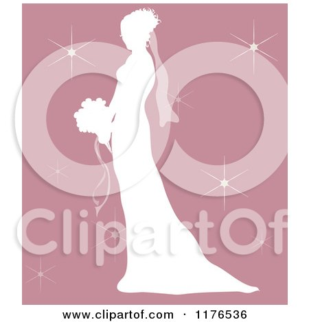 Clipart of a Silhouetted Bride in Profile, Holding a Wedding Bouquet over Pink with Sparkles - Royalty Free Vector Illustration by Pams Clipart
