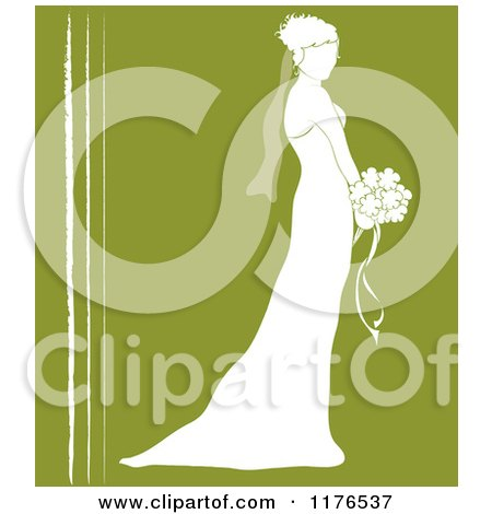 Clipart of a Silhouetted Bride in Profile, Holding a Wedding Bouquet over Green with White Lines - Royalty Free Vector Illustration by Pams Clipart