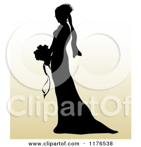 Clipart of a Silhouetted Bride in Profile, Holding a Wedding Bouquet over Gradient - Royalty Free Vector Illustration by Pams Clipart