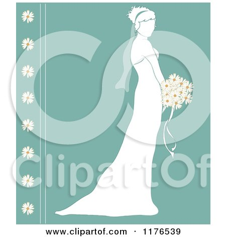 Clipart of a Silhouetted Bride in Profile, Holding a Wedding Bouquet over Turquoise with Daisies| Royalty Free Vector Illustration by Pams Clipart