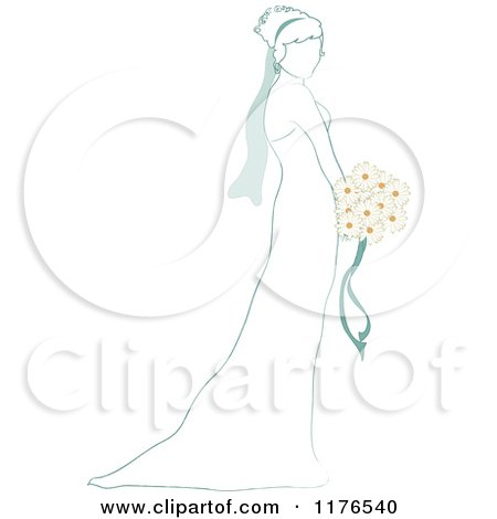 Clipart of a Sketched Bride Holding a Daisy Wedding Bouquet - Royalty Free Vector Illustration by Pams Clipart