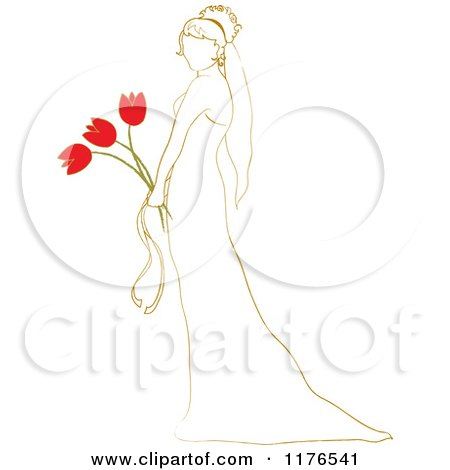 Clipart of a Sketched Bride Holding a Red Tulip Wedding Bouquet - Royalty Free Vector Illustration by Pams Clipart