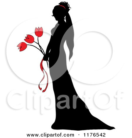 Clipart of a Black Silhouetted Bride Holding a Red Tulip Wedding Bouquet - Royalty Free Vector Illustration by Pams Clipart