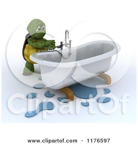Clipart of a 3d Plumber Tortoise Fixing a Leaky Bath Tub Pipe 2 - Royalty Free CGI Illustration by KJ Pargeter