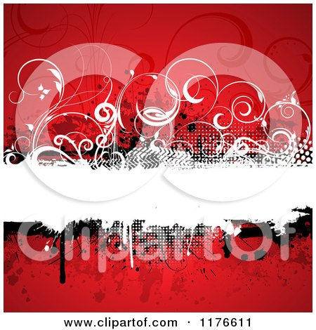 Clipart of a Grungy Red Background with a Text Bar and Vines - Royalty Free Vector Illustration by KJ Pargeter