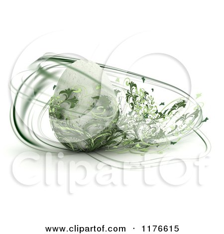 Clipart of a 3d Easter Egg with Abstract Green Foliage Swirling Around It - Royalty Free CGI Illustration by KJ Pargeter