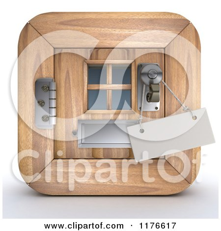 Clipart of a 3d Wooden Door Icon with a Sign on the Handle - Royalty Free CGI Illustration by KJ Pargeter