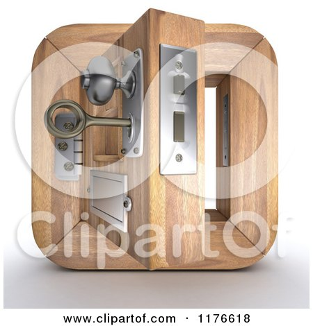 Clipart of a 3d Open Wooden Door Icon with a Key in the Lock - Royalty Free CGI Illustration by KJ Pargeter