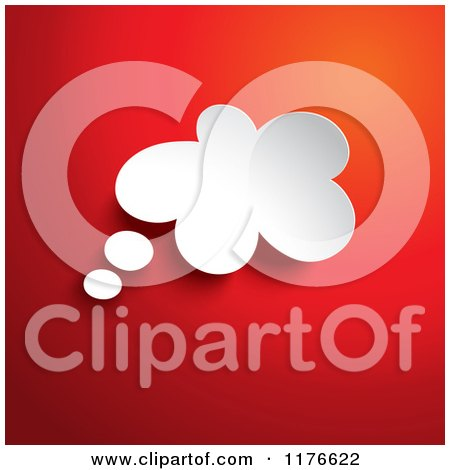 Clipart of a 3d White Thought Bubble over Red - Royalty Free Vector Illustration by KJ Pargeter