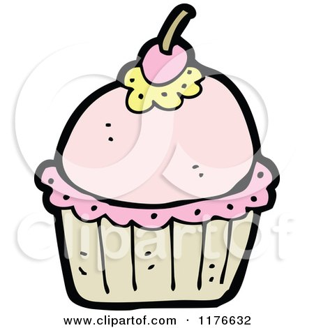 Cartoon of a Pink Cupcake with a Cherry on Top - Royalty Free Vector Illustration by lineartestpilot