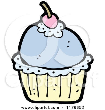 Cartoon of a Blue Cupcake with a Cherry on Top - Royalty Free Vector Illustration by lineartestpilot