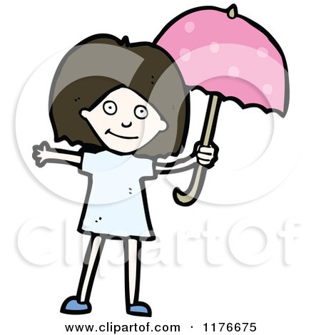 Cartoon of a Young Girl with a Pink Unbrella - Royalty Free Vector Illustration by lineartestpilot