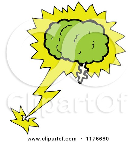 Clipart of a Green Brain With A Burst by lineartestpilot