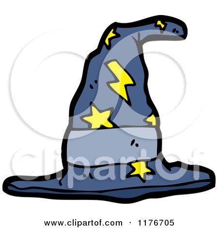 Cartoon of a Witches Hat with Stars and Lightning Bolts - Royalty Free Vector Illustration by lineartestpilot