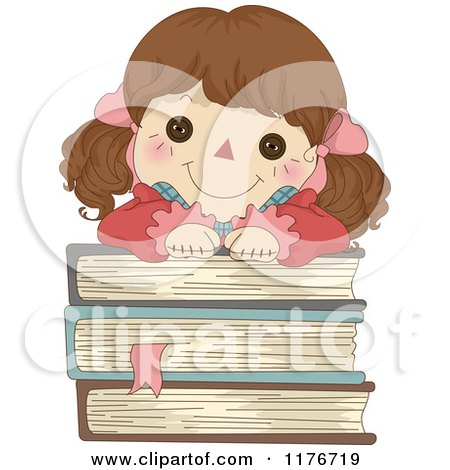 Cartoon of a Happy Rag Doll Resting on a Stack of Books - Royalty Free Vector Clipart by BNP Design Studio