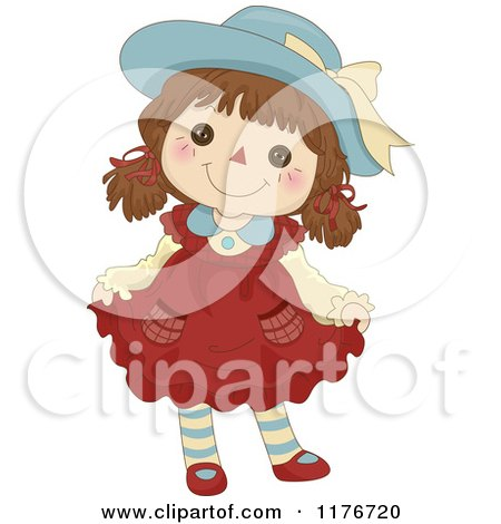Cartoon of a Happy Female Rag Doll Doing a Curtsy - Royalty Free Vector Clipart by BNP Design Studio