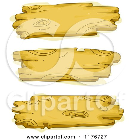 Cartoon of Three Wood Signs - Royalty Free Vector Clipart by BNP Design Studio