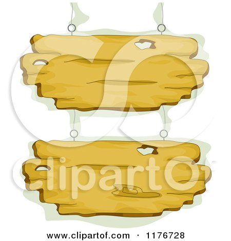 Cartoon of Hanging Wood Signs with Green - Royalty Free Vector Clipart by BNP Design Studio