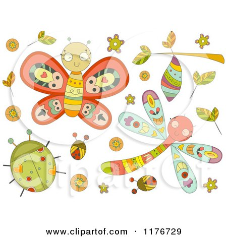 Cartoon of Cute Doodle Bugs and Leaves - Royalty Free Vector Clipart by BNP Design Studio