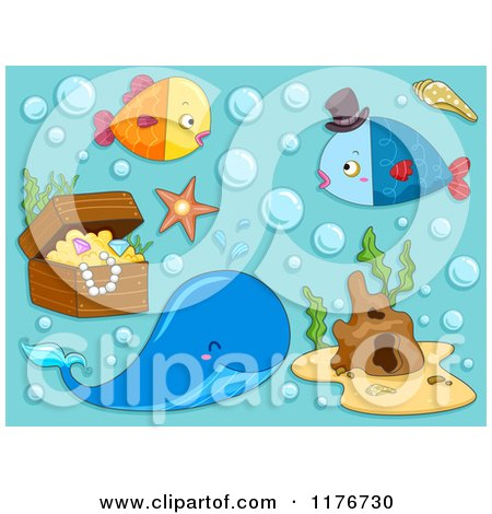 Cartoon of a Whale Fish and Sunken Treasure on Blue - Royalty Free Vector Clipart by BNP Design Studio