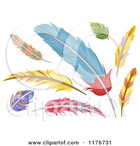 Cartoon Of Colorful Feathers Royalty Free Vector Clipart
