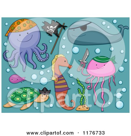 Cartoon of a Turtle Fish Seahorse Octopus Jellyfish and Whale with Bubbles - Royalty Free Vector Clipart by BNP Design Studio