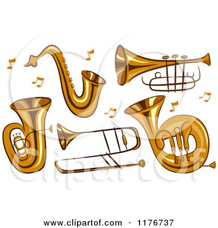 Cartoon of Brass Instruments and Music Notes - Royalty Free Vector Clipart by BNP Design Studio
