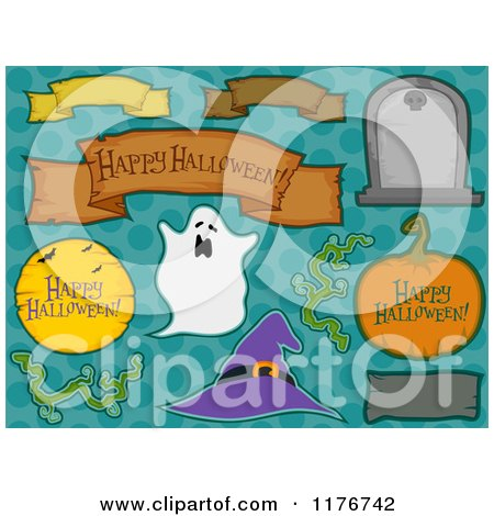 Cartoon of Halloween Design Elements over Dots - Royalty Free Vector Clipart by BNP Design Studio
