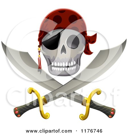 Cartoon Of A Pirate Skull And Sword Jolly Roger Royalty Free Vector Clipart