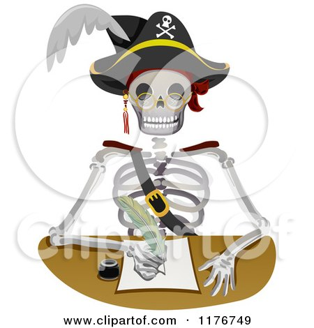 Cartoon of a Pirate Skeleton Writing a Letter - Royalty Free Vector Clipart by BNP Design Studio