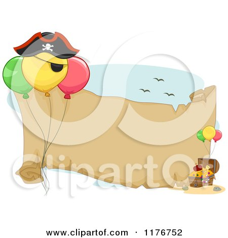 Cartoon of a Pirate Birthday Party Themed Banner with Balloons and Treasure - Royalty Free Vector Clipart by BNP Design Studio