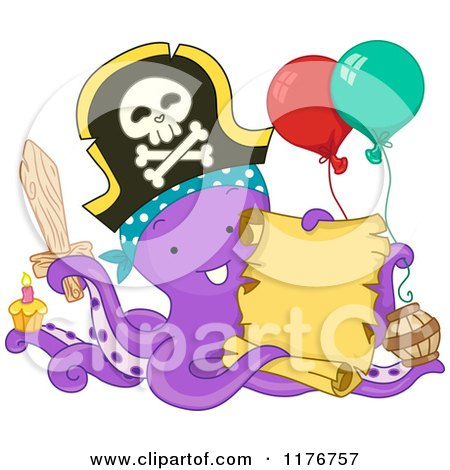 Cartoon of a Birthday Party Pirate Octopus Holding a Sign - Royalty Free Vector Clipart by BNP Design Studio