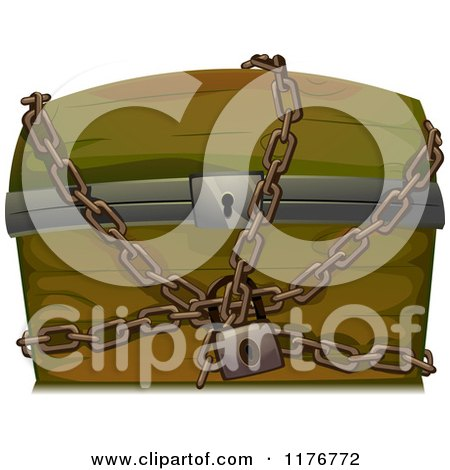 Cartoon of a Wooden Trunk Locked up in Chains - Royalty Free Vector Clipart by BNP Design Studio