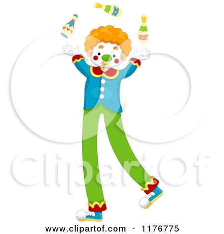 Cartoon of a Juggling Circus Clown on Stilts - Royalty Free Vector Clipart by BNP Design Studio
