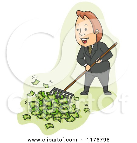 Cartoon of a Businessman Raking up Cash Money - Royalty Free Vector Clipart by BNP Design Studio