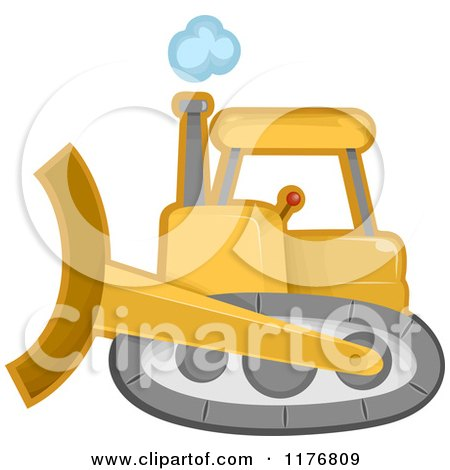 Cartoon of a Yellow Bulldozer Machine - Royalty Free Vector Clipart by BNP Design Studio