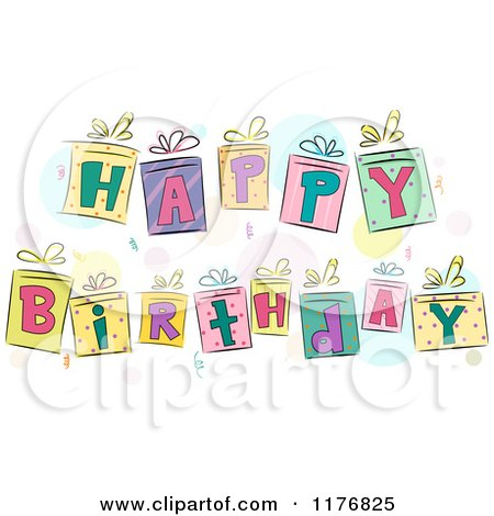 Cartoon of Colorful Gift Boxes Spelling Happy Birthday - Royalty Free Vector Clipart by BNP Design Studio