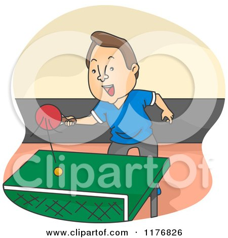 Cartoon of a Happy Man Playing Ping Pong Table Tennis - Royalty Free Vector Clipart by BNP Design Studio