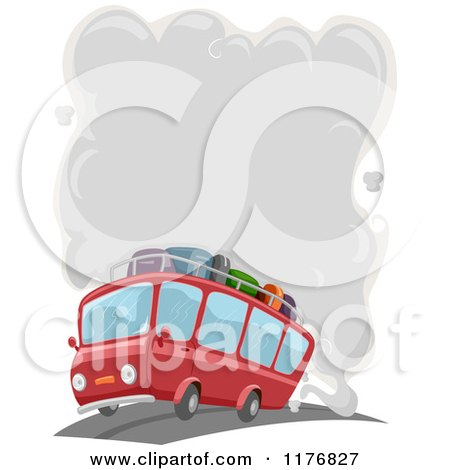 Cartoon of a Red Travel Bus with Smog Emerging from the Exhaust - Royalty Free Vector Clipart by BNP Design Studio