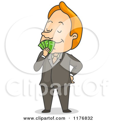 Cartoon of a Happy Businessman Smelling Cash Money - Royalty Free Vector Clipart by BNP Design Studio