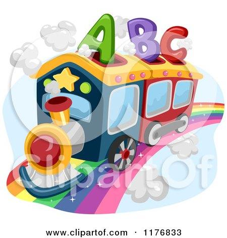 Cartoon Of An Abc Alphabet Train On A Rainbow Royalty Free Vector Clipart