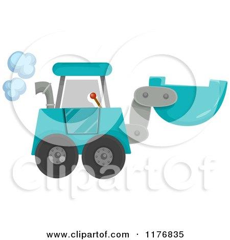 Blue Construction Excavator Machine Posters, Art Prints