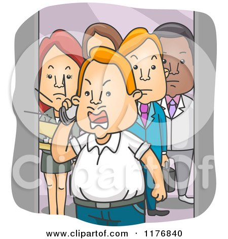 people in elevator clipart. people watching an angry man shout into a cell phone on elevator by bnp design studio in clipart