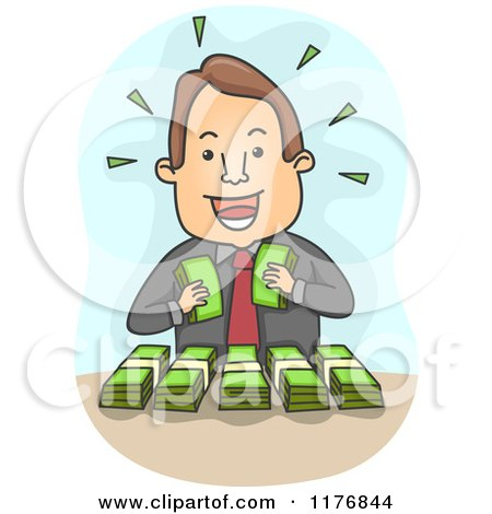 Cartoon of a Rich Businessman Counting His Bundled Money - Royalty Free Vector Clipart by BNP Design Studio