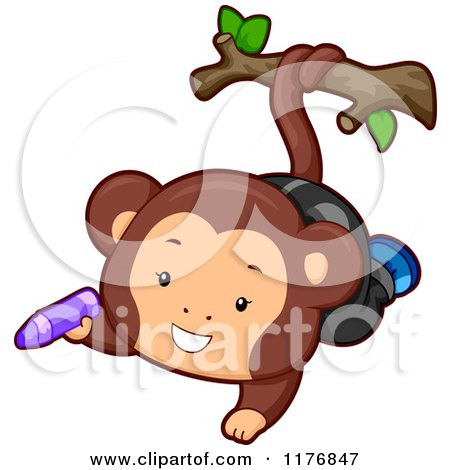 Cartoon of a Cute Monkey Holding a Crayon and Swinging from a Branch - Royalty Free Vector Clipart by BNP Design Studio